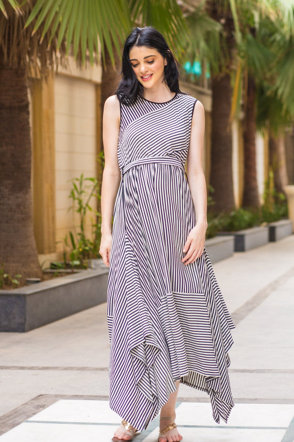 Abstract Striped Maternity Dress - MOMZJOY.COM
