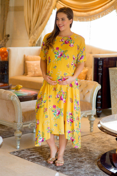 Sunny Love Shoulder Snap Maternity & Nursing Dress / Delivery Gown/ Night Dress