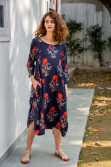 Handloom Printed Maternity & Nursing Dual Cowl Dress Kurta