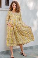 Yellow Zest Striped Pocket Maternity & Nursing Dress