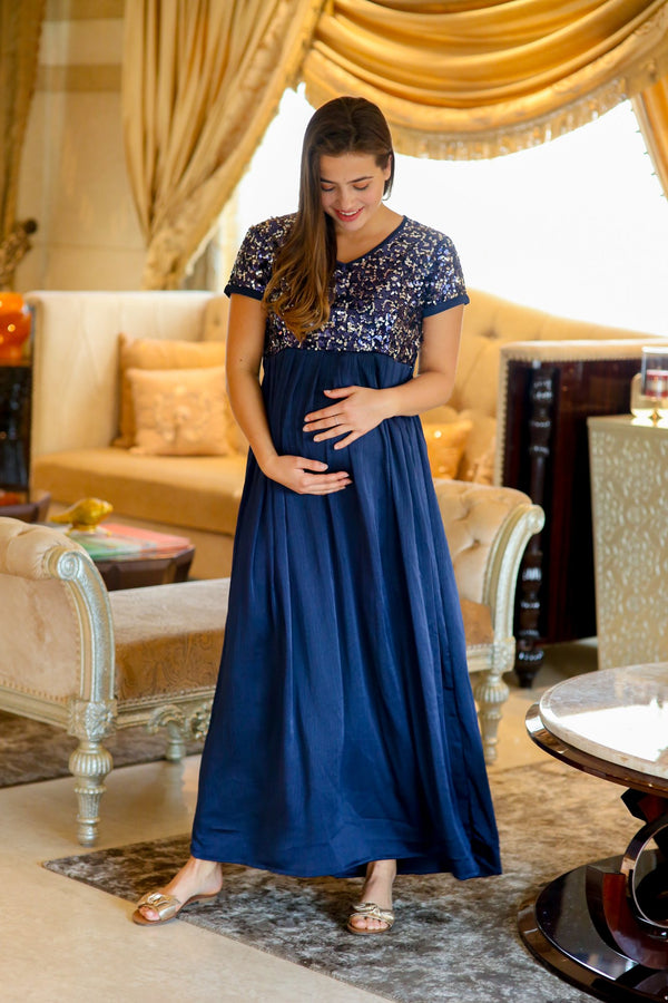 Luxe Blue Silver Sequin Maternity Dress - MOMZJOY.COM