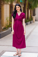 Maroon Berry Front Knot Lycra Maternity Dress - MOMZJOY.COM