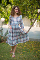 Peach Plaid Pintucks Maternity & Nursing Dress - MOMZJOY.COM