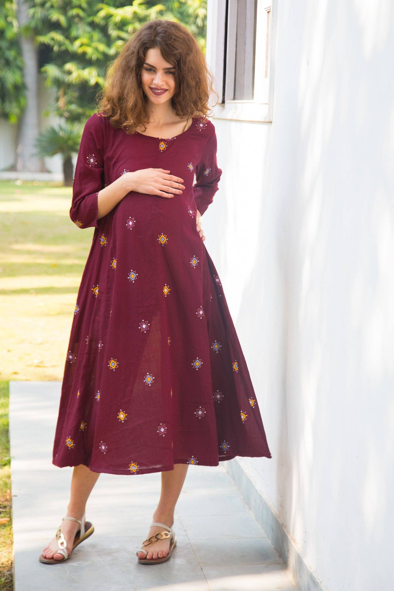 Ruby Red Cowl Maternity & Nursing Dual Dress Kurta