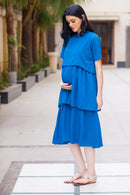 Teal Blue Layered Maternity & Nursing Dress
