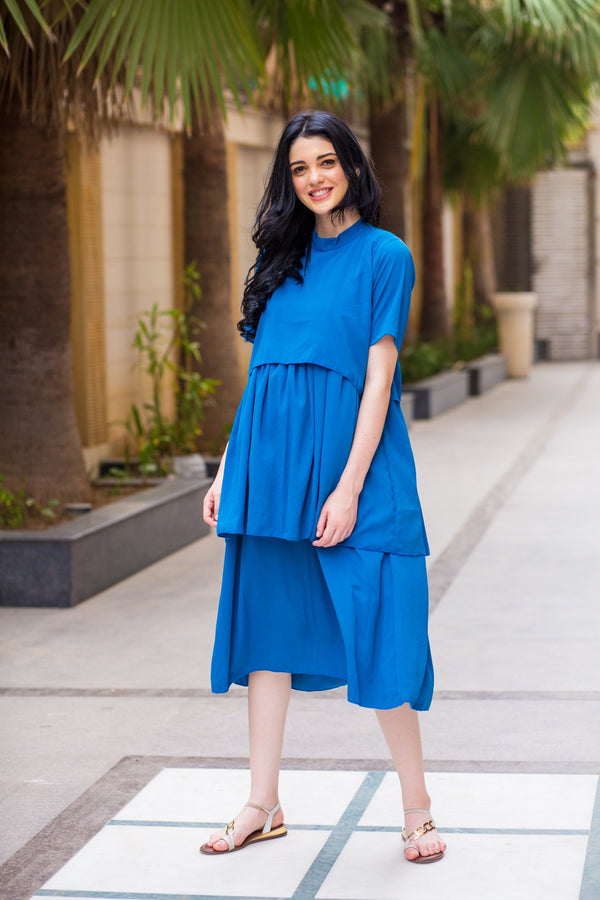 Teal Blue Layered Maternity & Nursing Dress - MOMZJOY.COM