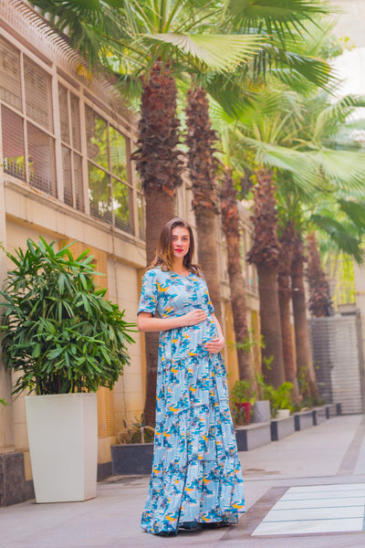 Ocean Love Frill Maternity & Nursing Dress - MOMZJOY.COM