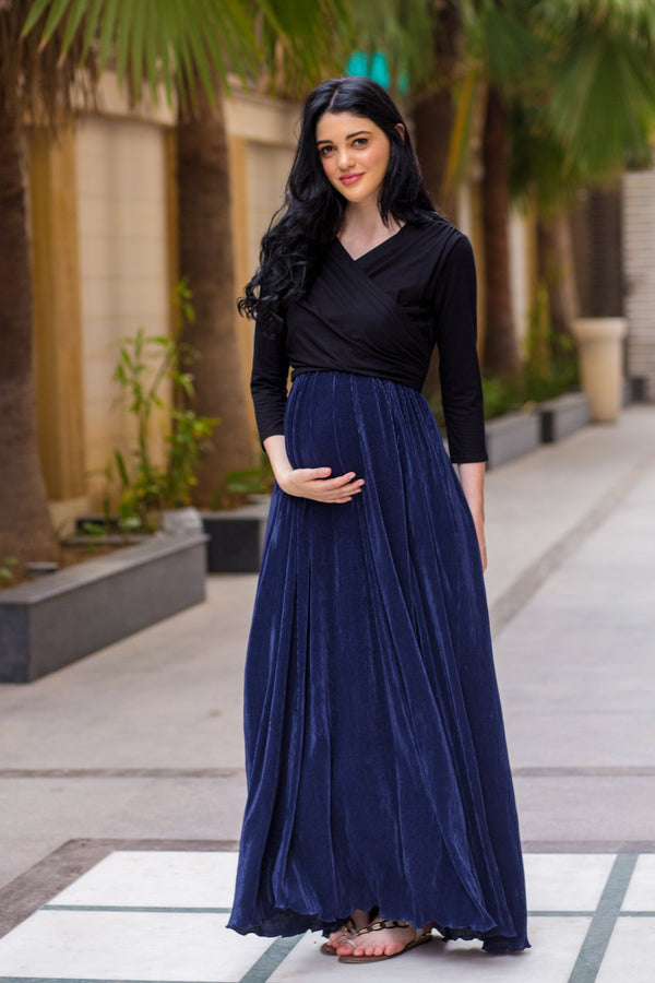 Luxe Navy Pleated & Nursing Wrap Dress
