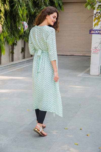 Mint Green Zig-Zag Maternity & Nursing Kurta
