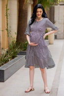 Black Striped Maternity & Nursing Dress - MOMZJOY.COM