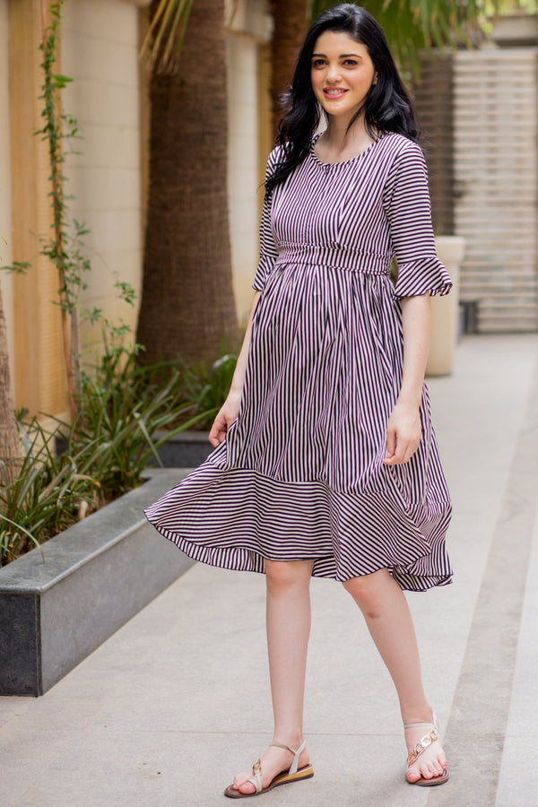 Striped Maternity & Nursing Boho Dress - MOMZJOY.COM