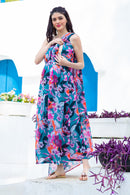 Luxe Chiffon One Shoulder Floral Maternity Gown