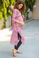 Berry Pink Front Zip Cotton Nursing Kurta - MOMZJOY.COM