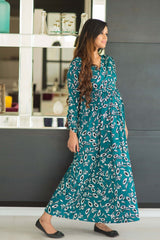 Deep Green Petal Maternity & Nursing Wrap Dress