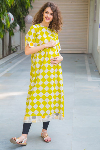 Cotton Lime Patterned Longline Maternity & Nursing Kurta - MOMZJOY.COM