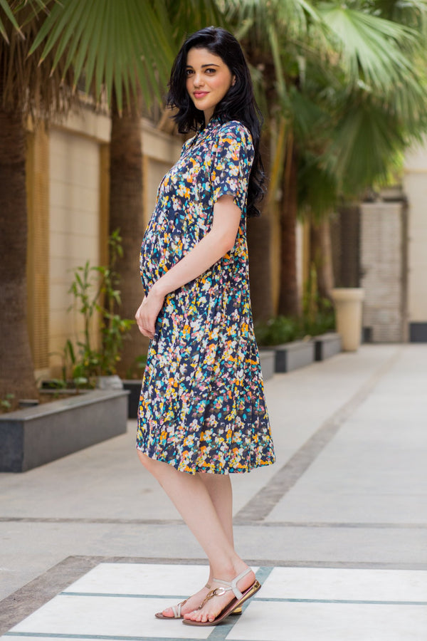 Vivid Sprinkle Maternity & Nursing Collar Dress - MOMZJOY.COM