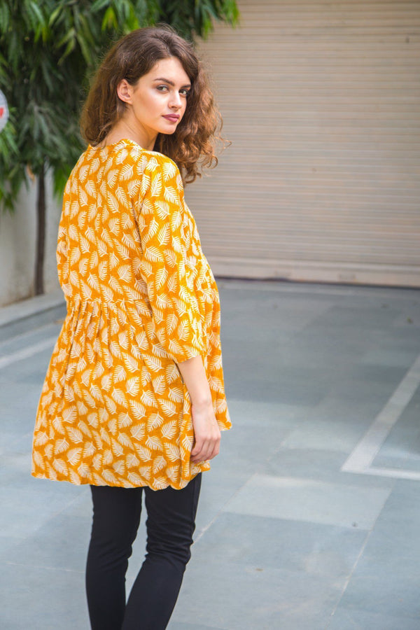 Yellow Leafy Maternity & Nursing Top - MOMZJOY.COM