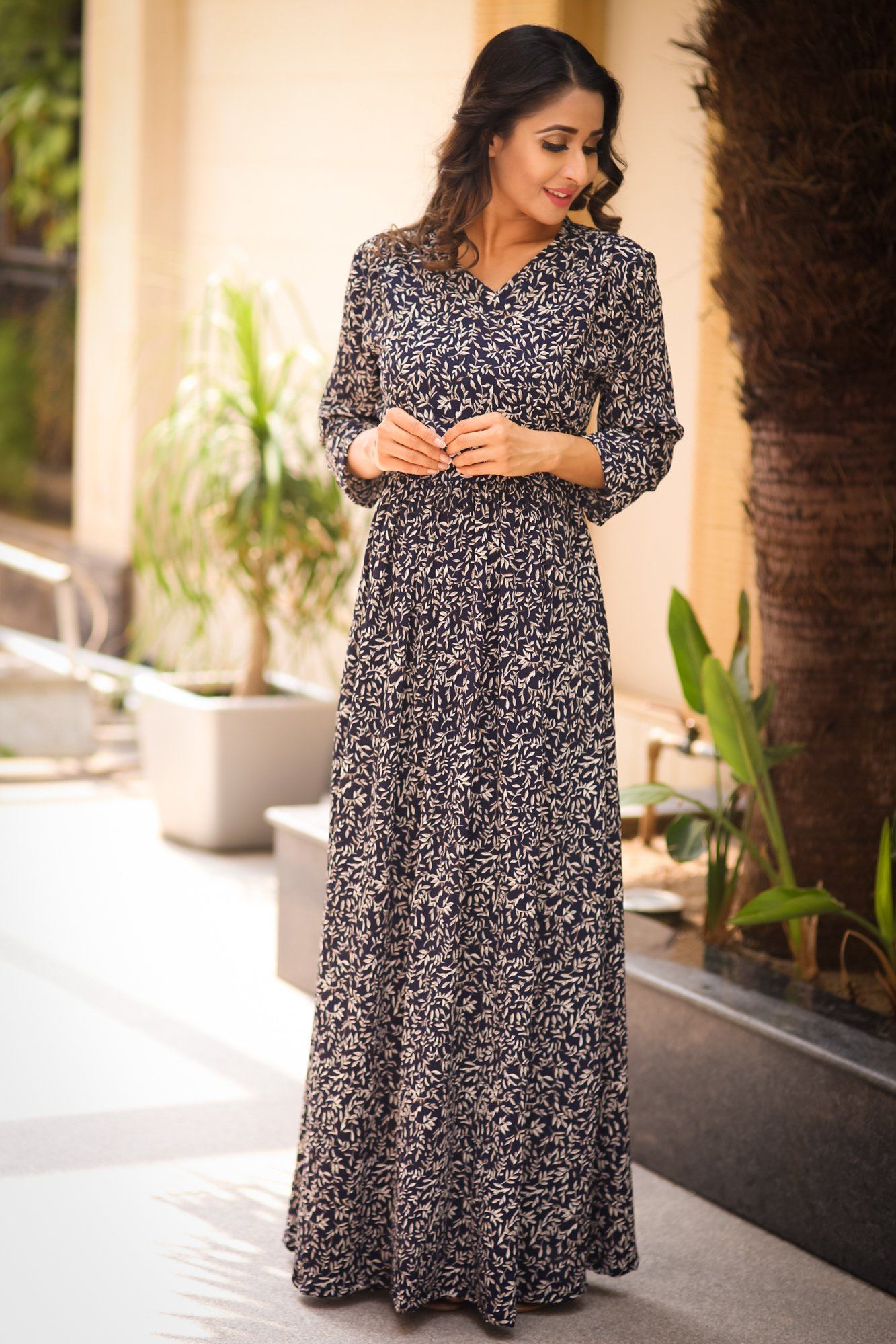 Misty Blue Leafy Maternity & Nursing Wrap Dress