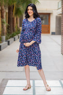 Blue Blossom Maternity & Nursing Front Zip Dress - MOMZJOY.COM