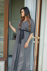 Classsic Striped Maternity & Nursing Wrap Dress