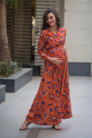 Amber Blossom Maternity & Nursing Wrap Dress - MOMZJOY.COM