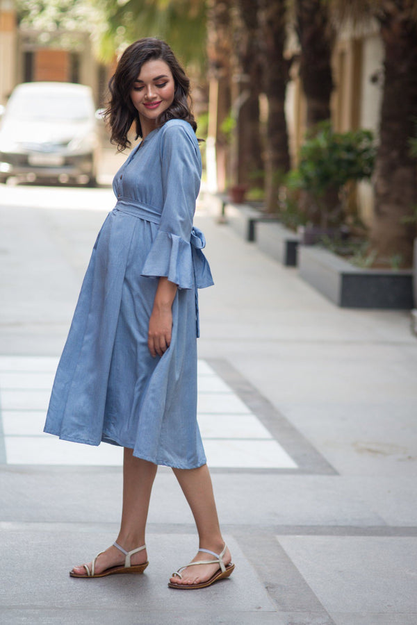 Denim Front Button Maternity & Nursing Dress - MOMZJOY.COM