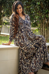Special Printed Lycra Maxi Wrap Dress