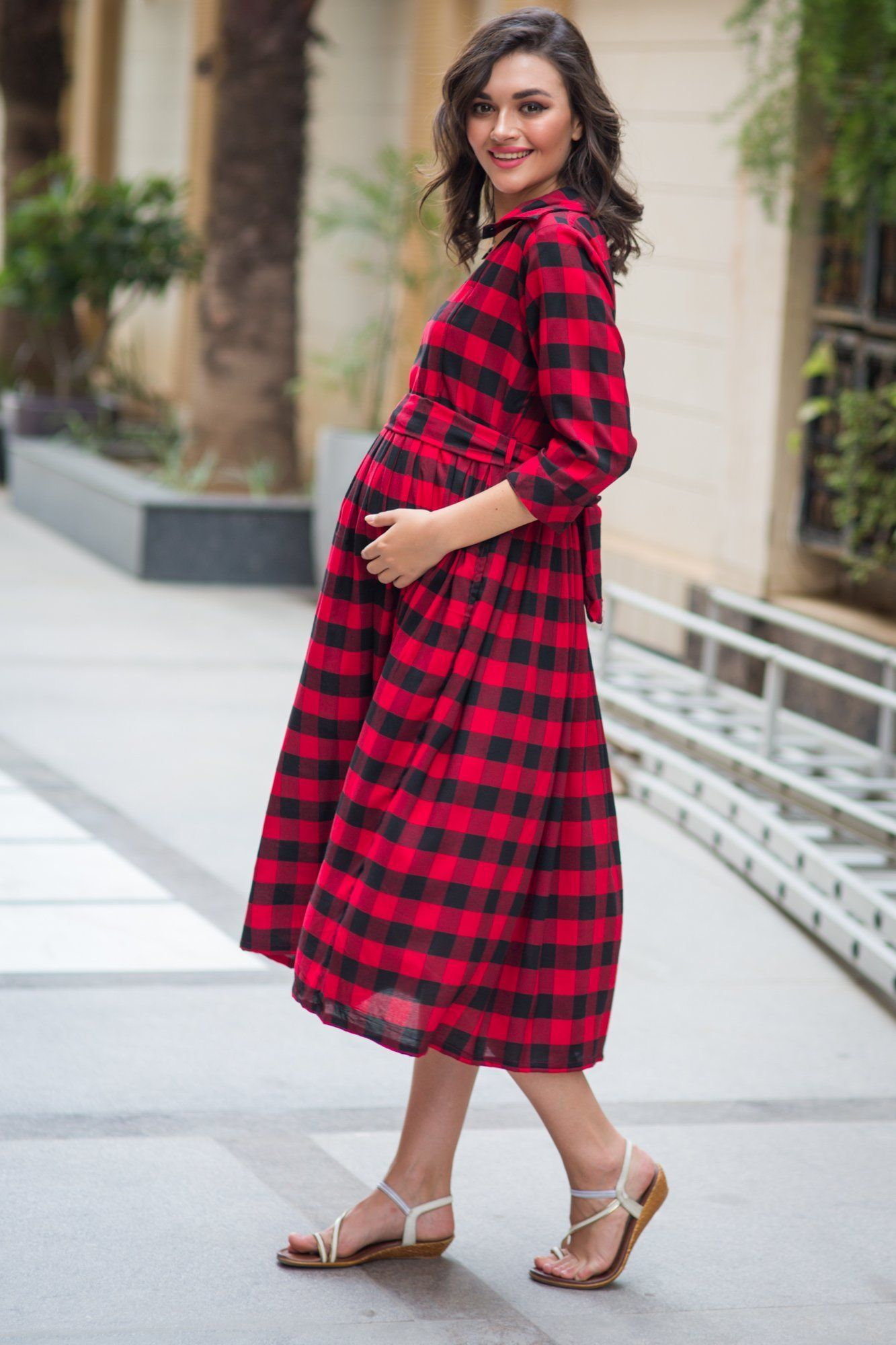 Slick Titan Red Plaid Maternity & Nursing Button Dress