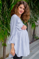 Royal Striped Cotton  Maternity & Nursing Top