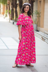 Taffy Floral Blush Maternity & Nursing Flap Dress