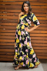 Ebony Yellow Pink Blossom Hi-Low Frill Maternity & Nursing Wrap Dress
