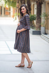 Vogue Striped Maternity & Nursing Dress
