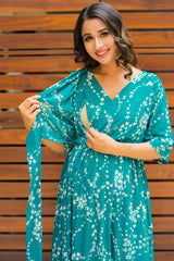 Leafy Green Luxe Maternity & Nursing Wrap Dress
