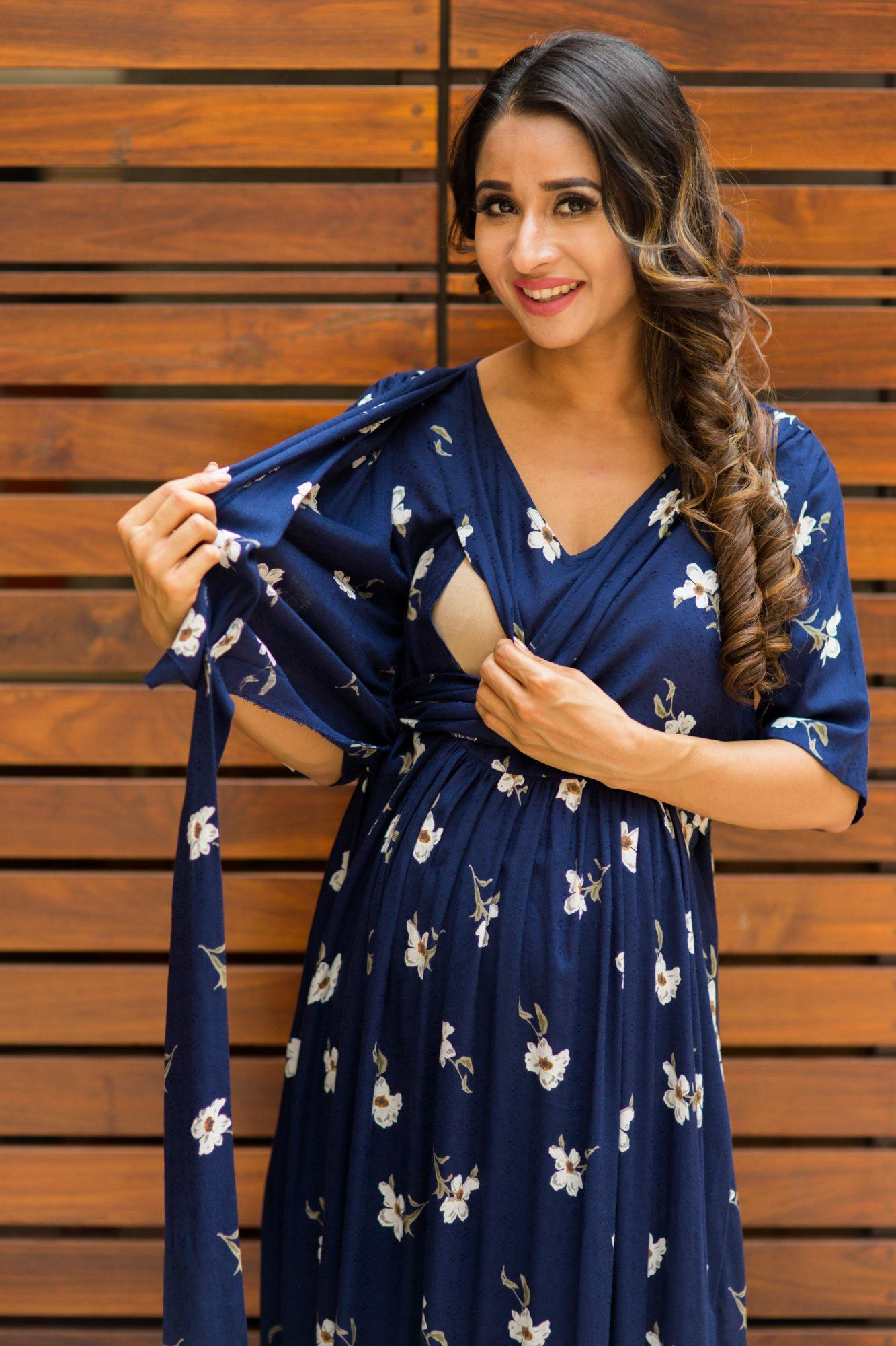 Luxe Navy Pearl Blossom Maternity& Nursing Wrap Dress