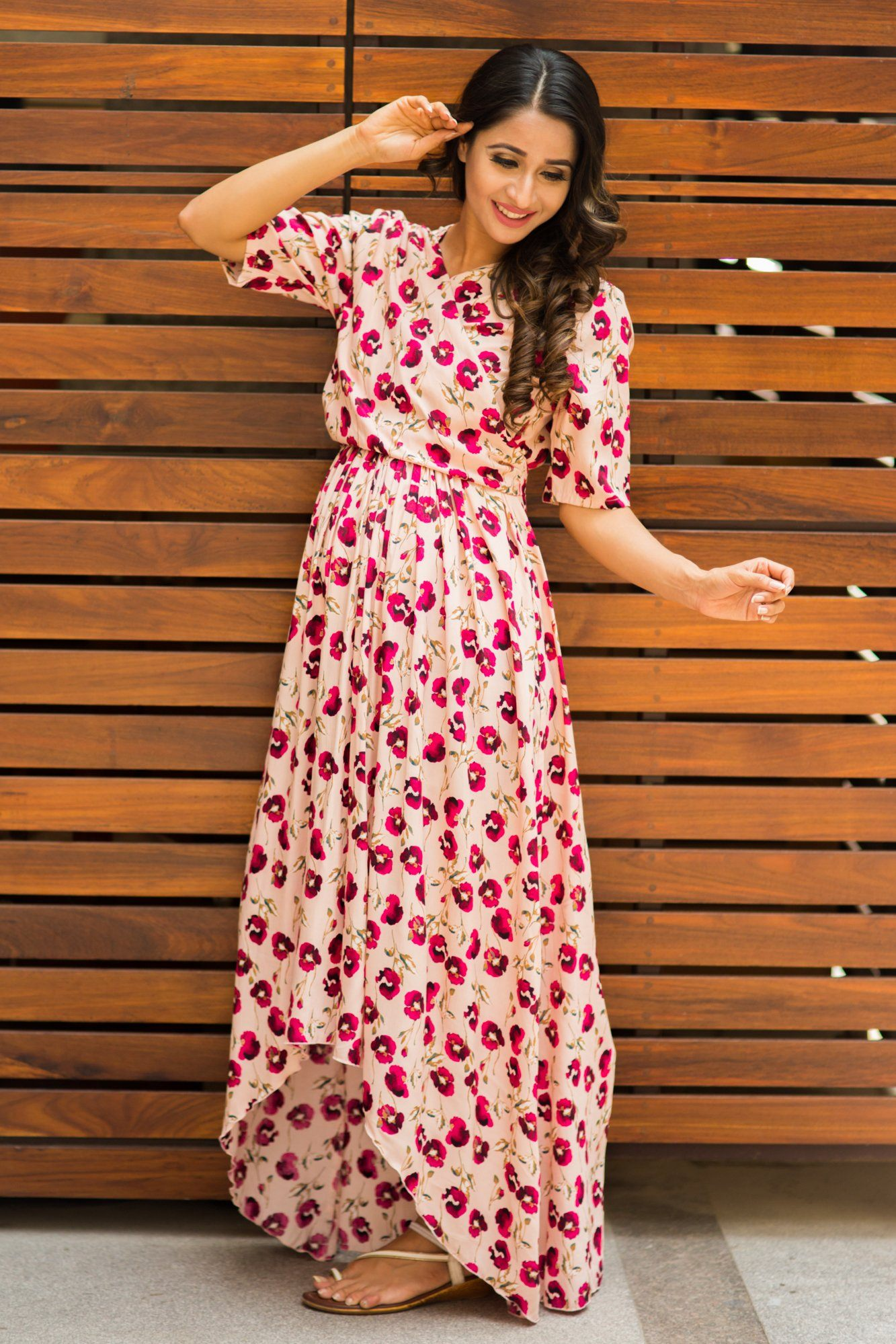 Peach Floral Hi-Low Maternity & Nursing Wrap Dress