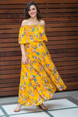 Daffodil Yellow Off-Shoulder Maternity Maxi Dress