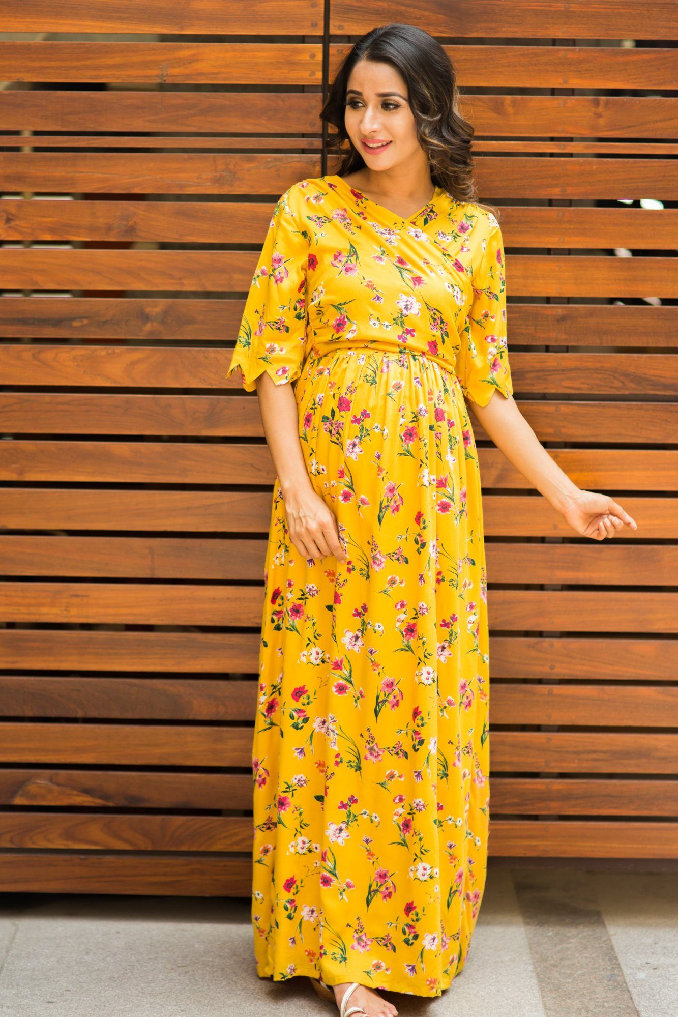 Sunny Yellow Blossom Maternity& Nursing Wrap Dress