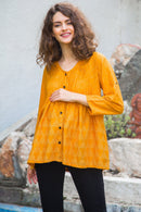 Geometrical Amber Pintucks Nursing Top