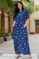 Kimono Floral Blue Maternity & Nursing Dress / Delivery Gown/ Night Dress - MOMZJOY.COM
