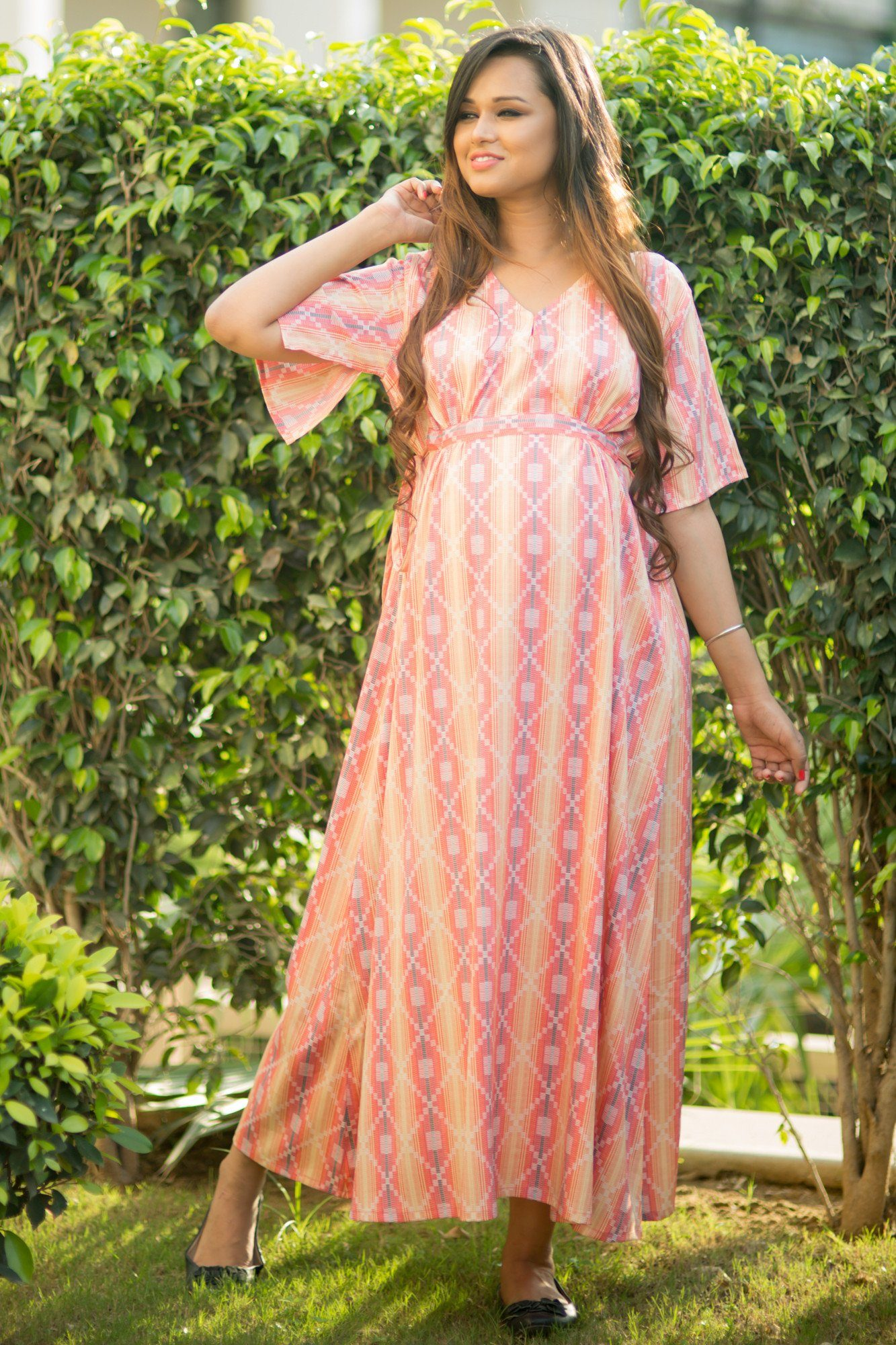 Shaded Pink Crepe Maternity Maxi Dress