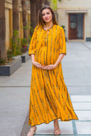 Set of 2- Honey Ikat Maternity & Nursing Dress with Cotton jacket - MOMZJOY.COM