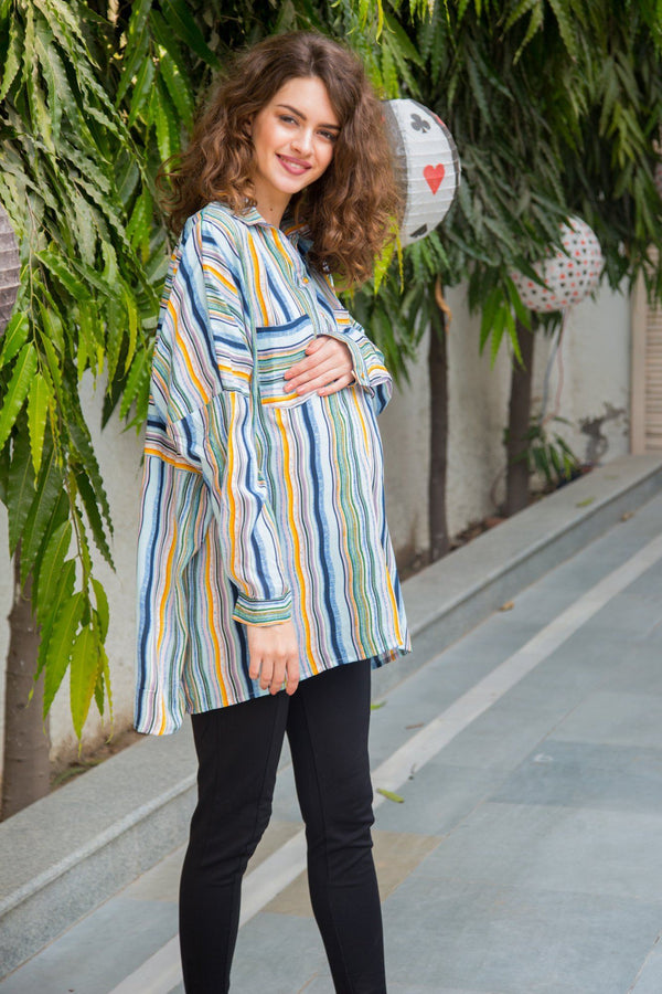 Happy Blush Striped Maternity & Nursing Top