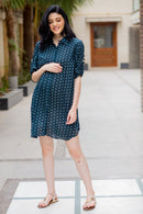 Bottle Green Polka Maternity & Nursing Shirt Dress - MOMZJOY.COM