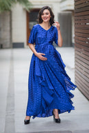 Luxe Electric Blue Embellished Satin Maternity Dress - MOMZJOY.COM