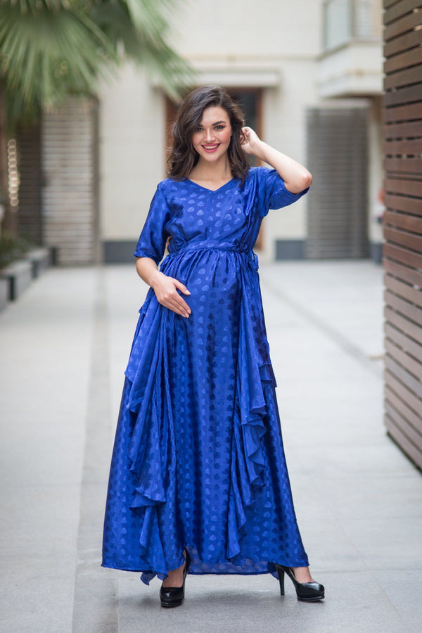 Luxe Electric Blue Embellished Satin Maternity Dress
