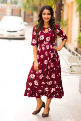 Burgandy Floral Striped Frill Concealed Zips Maternity & Nursing Dress
