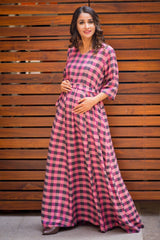 Bubblegum Plaid Maternity & Nursing Maxi Dress