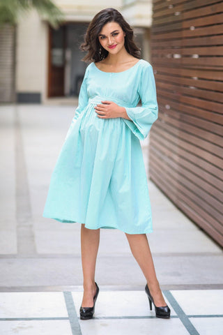 Mint Striped Maternity & Nursing Dress