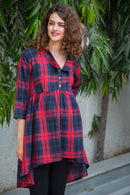 Scarlet Plaid Gathered  Maternity & Nursing Top
