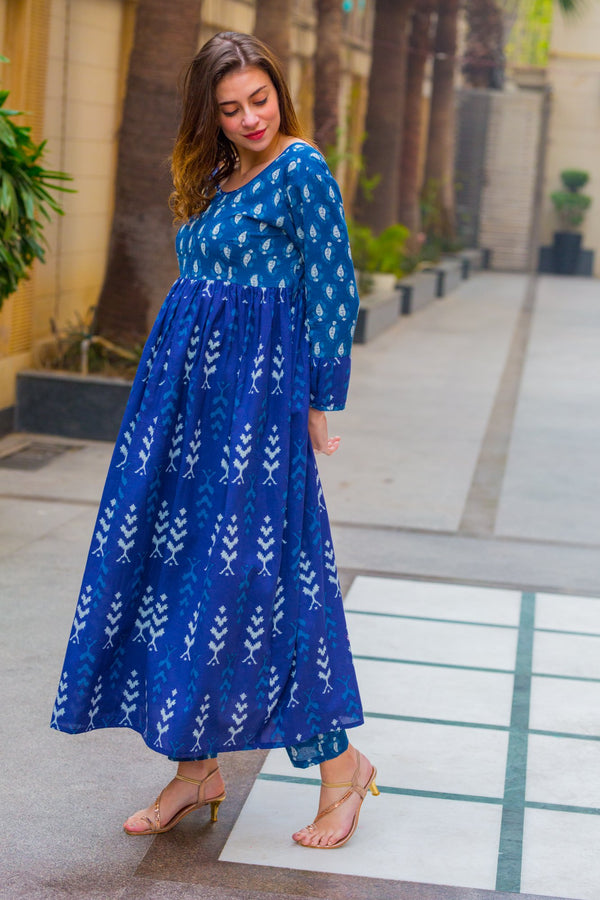 Set of 2 - Arctic Blue Nursing Kurta + Bump Band Bottom - MOMZJOY.COM